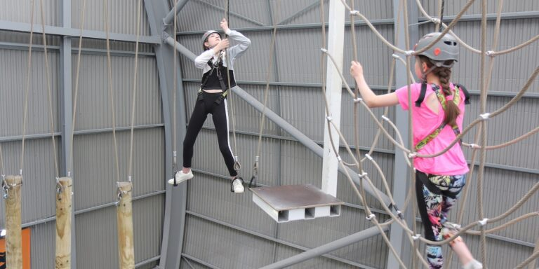 Swinging on the High Ropes Course at XC Hemel Hempstead